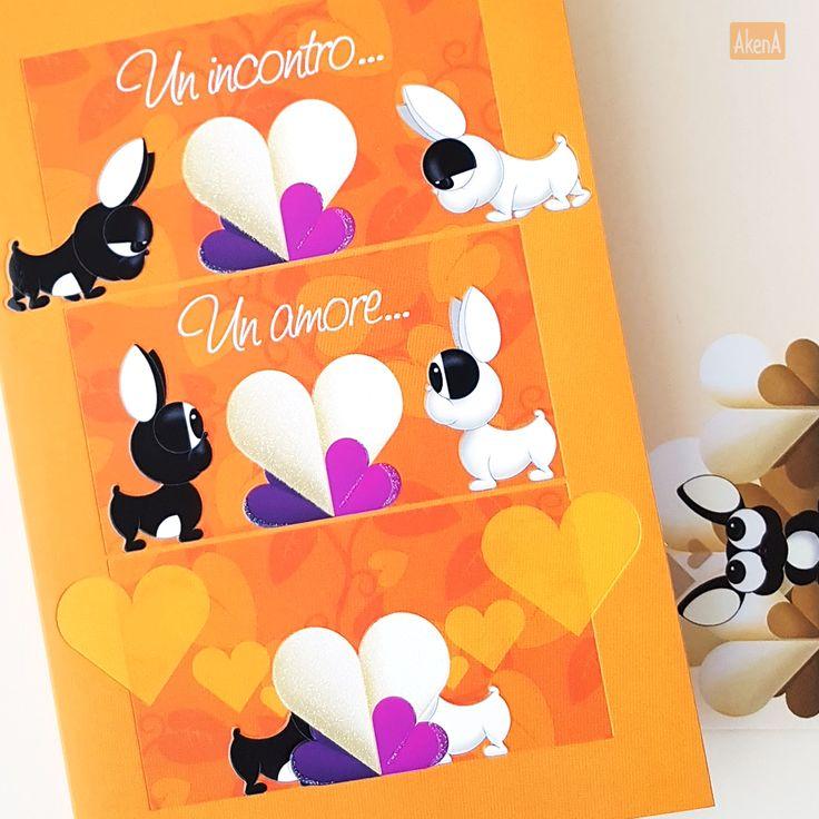 Biglietto per matrimonio. Una coppia di bulldog francese si trovano e nasce l'amore. - Wedding card with a loving couple of french bulldogs