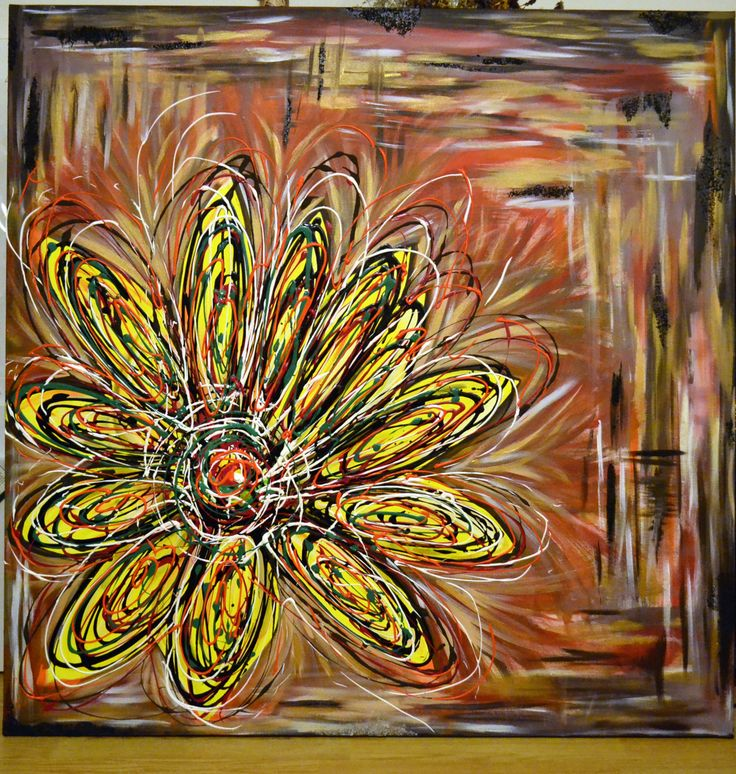Acrylic painting on canvas 2013 The happy flower of love Size: 120 x 120 cm Some nice people choose as a weeding gift for their friends a painting made for them. And what could be more appropriate than a explosion of flower to celebrate their  love? The abstract sun flower that represents the sun, crazy love and nobility that is exploding in all the colors, beyond the barriers of the lines and dark moments now and then. Wish them a happy loving life together!