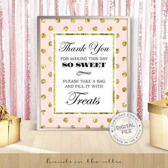 Pink and gold bridal shower signs bachelorette party decor instant bridal shower - Fill a bag with TREATS candy bar sign - DIGITAL JPG by HandsInTheAttic