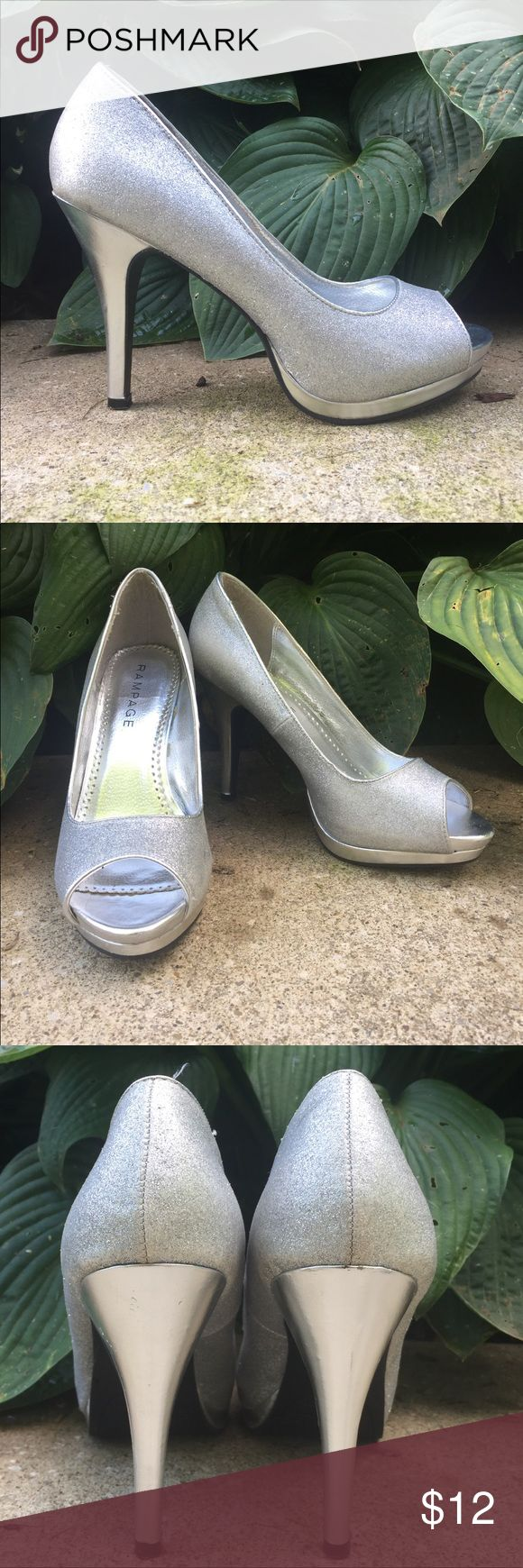 Silver Peep Toe Heels 4in of prom sparkle✨ I've only worn them twice, to my junior and senior prom and even then they were mostly worn for pictures. There's a few scuff marks that I included in the pictures, but they're hardly noticeable when wearing them! Rampage Shoes Heels