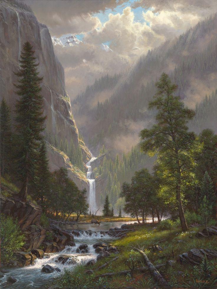 Highland Song by Mark Keathley ~ mountains waterfall stream elk