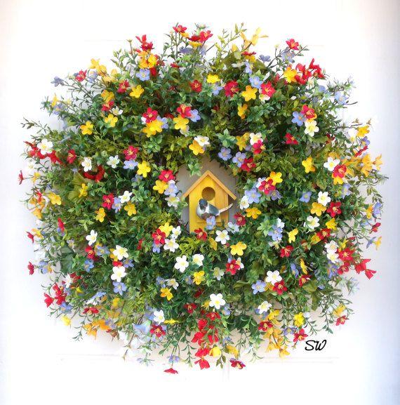Spring Wreath-Wildflower Wreath-Birdhouse by SeasonalWreaths
