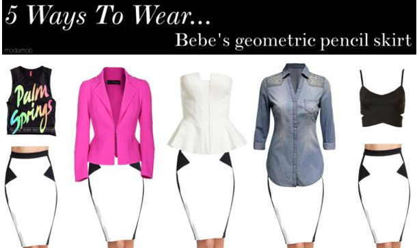 5 Ways to wear black & white pencil skirt #bebe