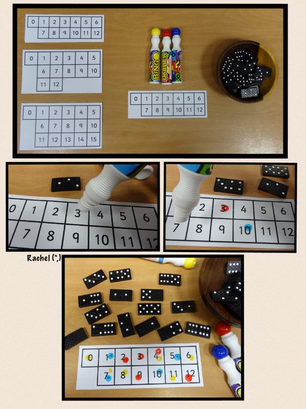 """Counting domino spots & marking the correct number with the bingo dabber (free printable grids) - from Rachel ("""",)"""