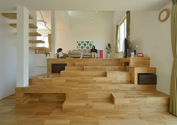 階段が棚・椅子・机に変化する家・間取り(千葉県木更津市)   注文住宅なら建築設計事務所 フリーダムアーキテクツデザイン