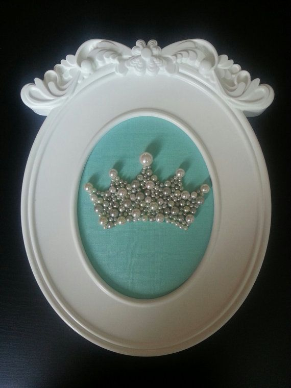 Princess Baby Girl Nursery decor or Zeta Tau Alpha ZTA Framed Pearl Crown in Tiffany & Co. Theme!