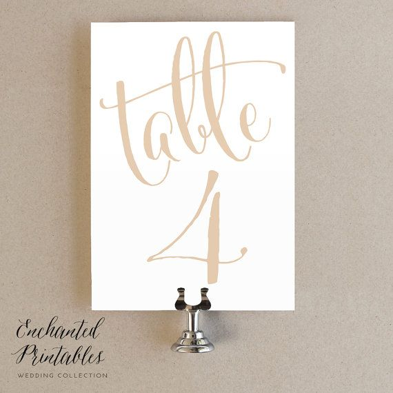 Gold Champagne Wedding Table Numbers Printable by KarlyKDesignShop