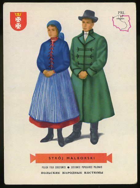 Man and woman wearing traditional clothes,Stroj Malborski, Poland; Polish folk costumes