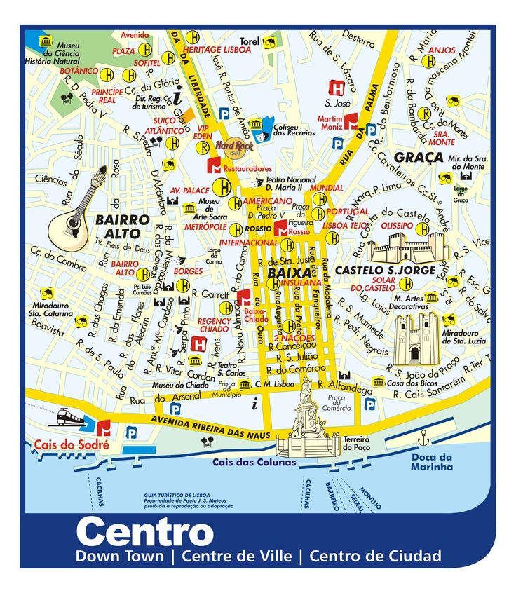 Lisbon Downtown Tourist Map - Lisbon Portugal • mappery