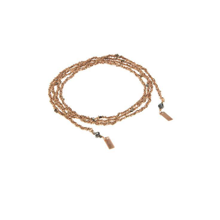 Marie-Laure Chamorel Bracelet ou Collier en argent massif 925 doré à l'or rose avec fil de soie et mini cristaux Swarovski. lux-18-PINK-GOLD_BEIGE-MLS182