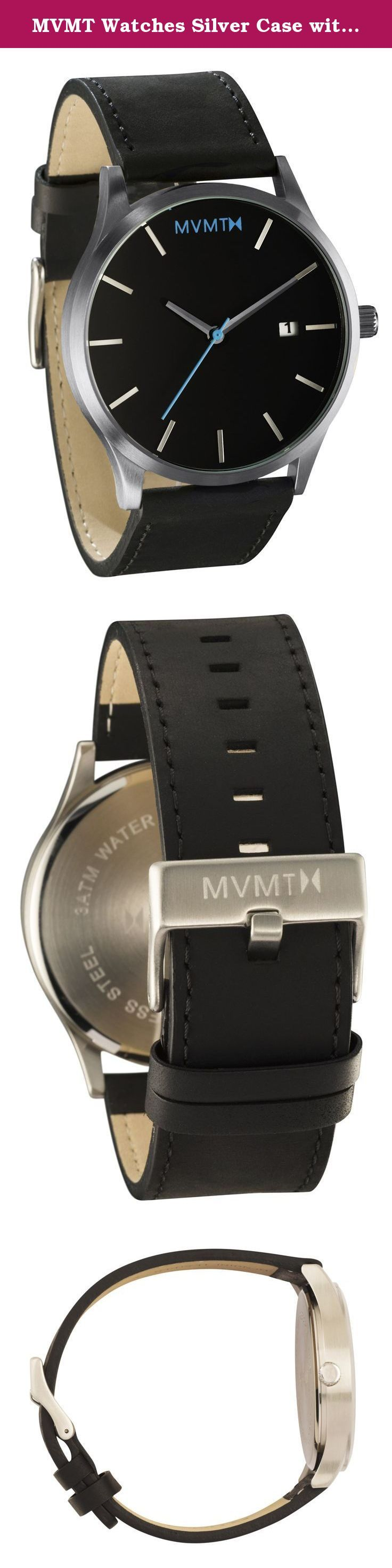 MVMT Watches Silver Case with Black Leather Strap Men's Watch. Our team sought out to create MVMT because of our passion for watches and desire to cut out the brand inflation and retail markup of popular name brands. We got frustrated paying hundreds of dollars for name brand watches, knowing they only cost a fraction of the price to make. When designing this watch collection, we made sure of THREE details: 1. A minimalist look that could be worn in a casual or professional setting. 2…