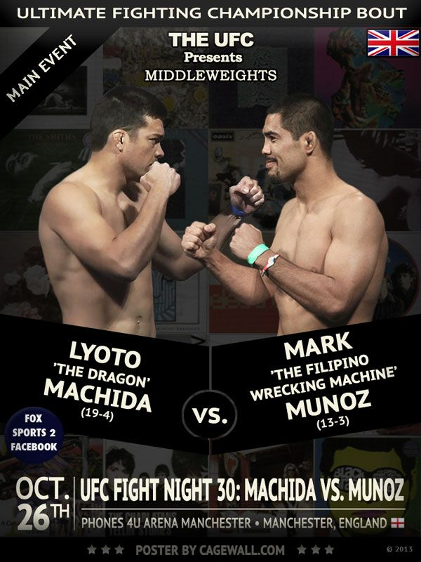 lyoto machida replaces injured michael bisping new lyoto machida vs mark munoz poster and
