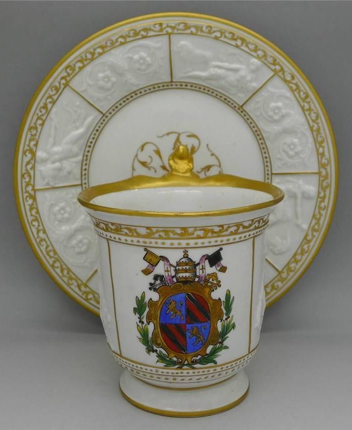 GINORI c.1850 CUP & SAUCER OWNED BY POPE PIUS IX PROVENANCE RARE MUST SEE RARE