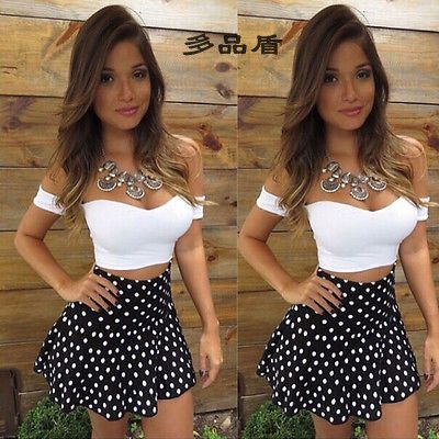 Sexy Woman Lace Bodycon Polka Dot Dress Skirt and Crop V-Neck Tops 2-Piece Party Clubwear Woman Sets