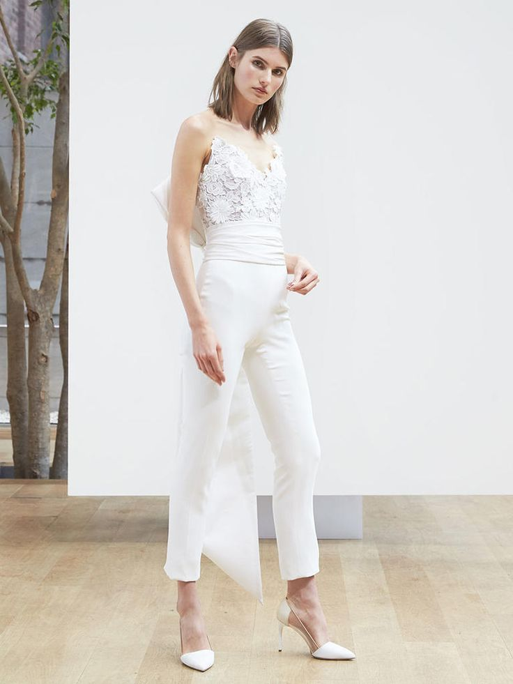 Oscar de la Renta Spring 2018 silk strapless jumpsuit with guipure lace and bow