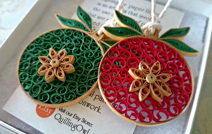 Paper quilled Christmas baubles