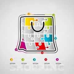Five options shopping timeline infographic design with basket icon made out of jigsaw pieces