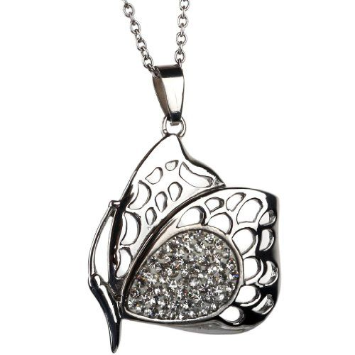 BH STEEL Anhaenger Silber Edelstahl Strass Schmetterling Ausschnitt Halskette fuer Maenner Frauen Dame,mit Kette und Samt Geschenkbeutel | Y...