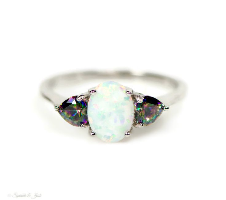 Sterling Silver 8mm Oval Opal and Rainbow Mystic Topaz Heart Ring