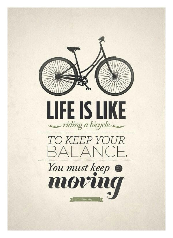 life is like a bicycle - quote typography print