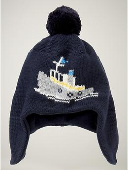 """Amy says, """"Look at the boat on this hat!!! If you were having a baby I would buy you this so the baby would be warm on Brett's boat!!"""""""