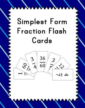 Product DescriptionThese are flash cards that students can use to practice putting fractions in simplest form. The cards can be used to play matching games, Go Fish, or Old Maid. Includes a sheet of blank cards so that you make create your own. Print on cardstock or on regular paper glued to construction paper to make it last.