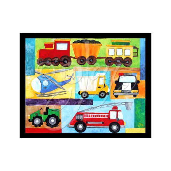 For a boys transportation room! VROOM #2 by nJoyArt, $15.00  #kids #decor #children #kidsroom #childrensdecor #transportation #art #trucks #painting #walart #njoyart