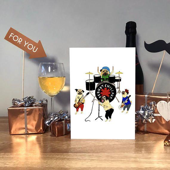 Red Hot Chilli Peppers Red Hot Chilli Peppers Card RHCP #birthdaycard #funnybirthdaycard #handmadecard #rhcp