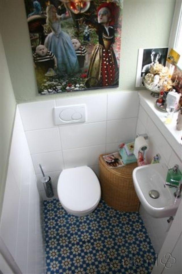 Cementtiles Toilet - Azule 11 - Project van Designtegels.nl