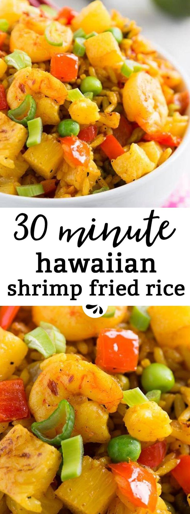 This Hawaiian shrimp fried rice is an easy family dinner recipe you can have on the table in 30 minutes. If you have cooked rice on hand, it's ready even faster! Made with red pepper, pineapple, peas, shrimp and green onion, it's a delicious, kid-friendly and healthy meal for the whole family. Great for weeknights and the leftovers make for a delicious packed work lunch the next day!