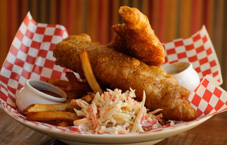 Red Beer Batter Fish and Chips with Bacon Tartar Sauce