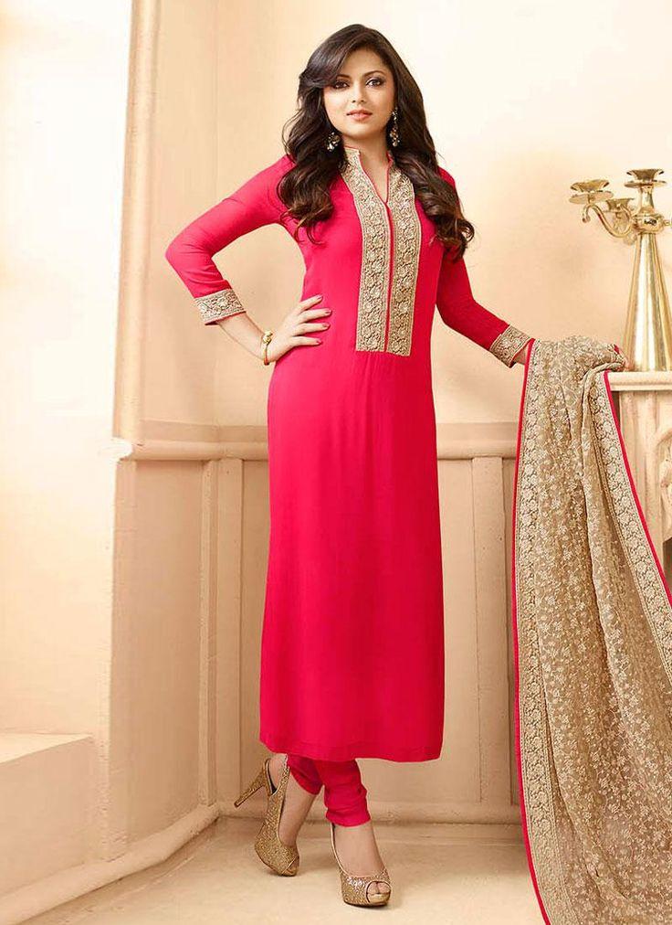 Ravishing Pink Colored Georgette Designer Suit