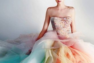 $250 - $450 Alternative Prom Dress Strapless Corset Embellished Top With Multicoloured Pastel Rainbow Mesh Ruffled Skirt