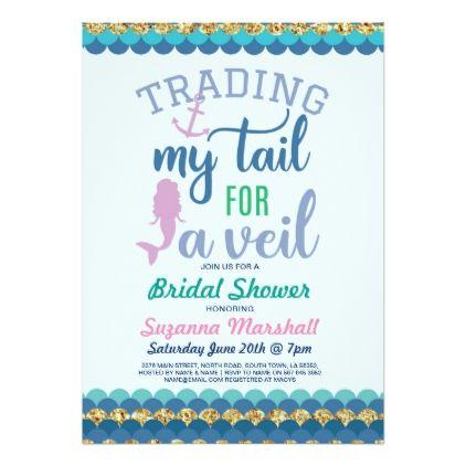 Mermaid Bridal Shower Invite Gold Glitter Sea - elegant gifts gift ideas custom presents