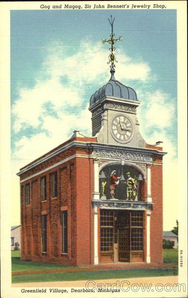 Gog And Magog clock jacks at Sir John Bennett's Jewelry Shop (Greenfield Village, MI)
