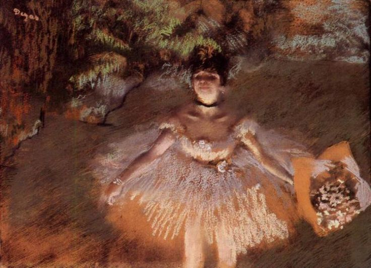 Dancer on Stage with a Bouquet, 1876 Edgar Degas - by style - Impressionism