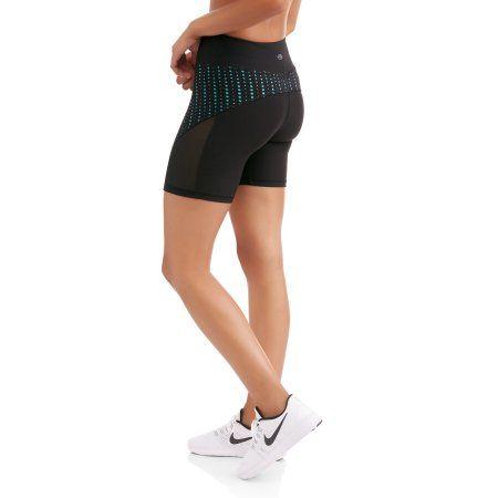 N.Y.L. Sport Women's Performance Bike Shorts With Contrast Lasercut Insert, Size: Medium, Blue