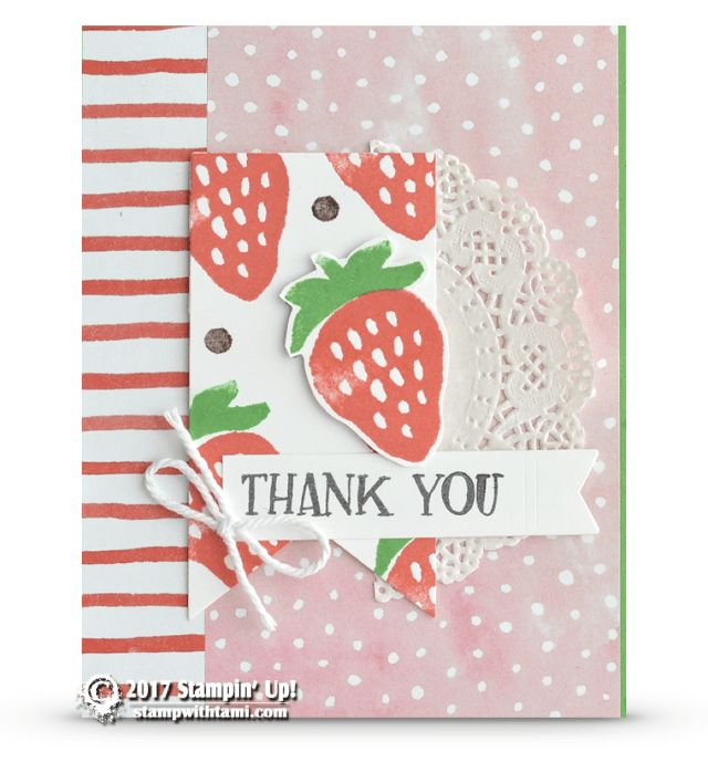 CARD: Thank you card from the Retiring Fresh Fruit | Stampin Up Demonstrator - ——— S U P P L I E S ———    • Fresh Fruit Photopolymer Stamp Set	141770  • Watermelon Wonder Classic Stampin' Pad #138323  • Early Espresso Classic Stampin' Pad #126974  • Cucumber Crush Classic Stampin' Pad #138324