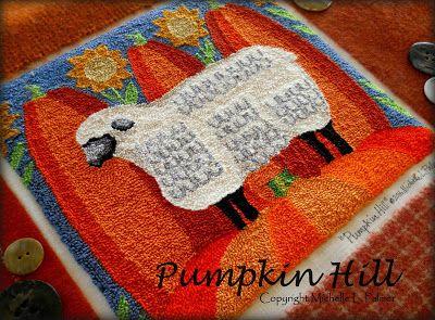 Michelle Palmer punch needle Pumpkin Hill DMC floss Lamb Sheep pumpkins Fall Harvest sunflower. Embroidery original design