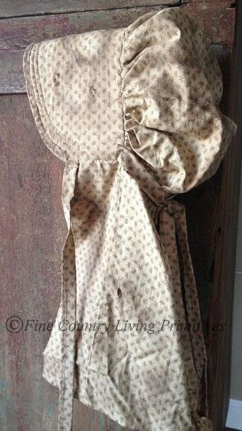 Primitives ~ Handcrafted Primitive Prairie Bonnet ~ Green Calico