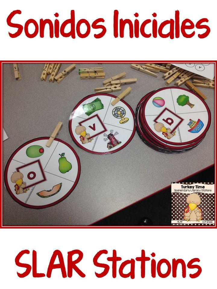 Spanish SLAR Stations for preschool and kindergarten.  Sonidos iniciales, silabas y mucho mas.