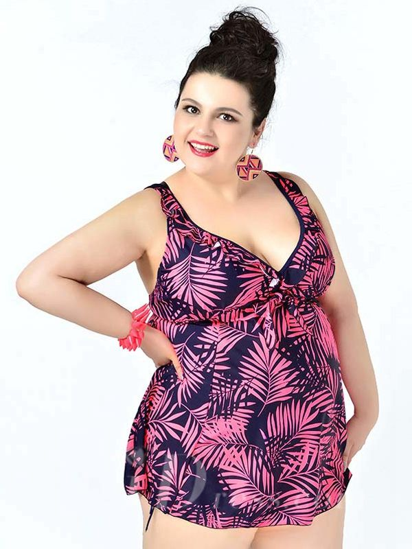 Watermelon Red High Waist Leaf Printed Sexy Halter One Piece Plus Size Swimsuit With Little Skirt Lidyy1605241079