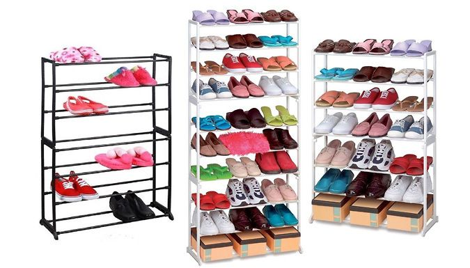 Shoe Organising Rack - 7 or 10 Tier Keep all your shoes in one place with this handyShoe Organising Rack      Available as a7 or 10 tier rack, to fit all the family's shoes      7-tier rack is available in white or black;10-tier rack is available in white      The 7 tier rack holds up to 21 pairs of shoes      The 10 tier rack holds up to 30 pairs of shoes      Made from durable polymer...