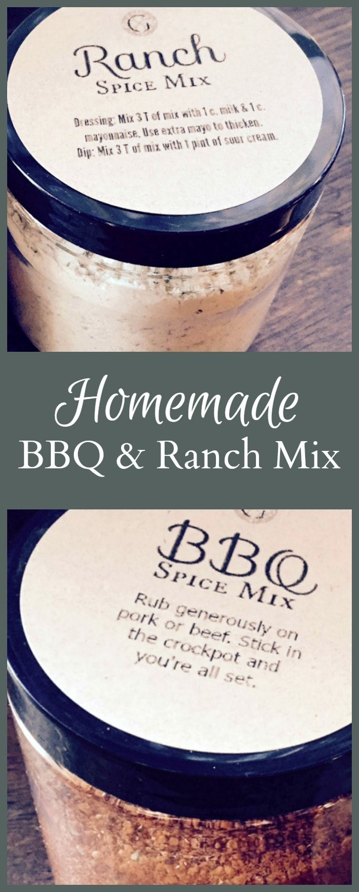 Here's a recipe for a great BBQ and Ranch spice mix to give out as a gift, including free printables for both mixes and a gift tag. #DIYgift #Ranchdressing #BBQ
