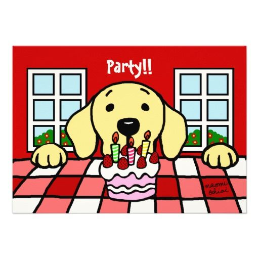 De unieke en grappige die Cartoon van de Labrador door Naomi Ochiai van Japan wordt gecre?ërd.  Het gele ontwerp van de Uitnodiging van de Partij van de Verjaardag van de Cartoon van Labrador voor hondenliefhebbers die van Gele Labrador houden.  De zeer leuke uitnodiging van de de verjaardagspartij van de hondcartoon.  Trillende Rode achtergrond.  U kunt tekst en meer aanpassen!