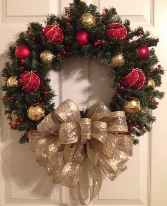 Sparkly Red and Gold Christmas wreath by Enywear on Etsy, $67.50