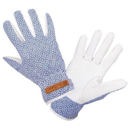 Florence Broadhurst Gardening Gloves   Blue with Chinese Key Print