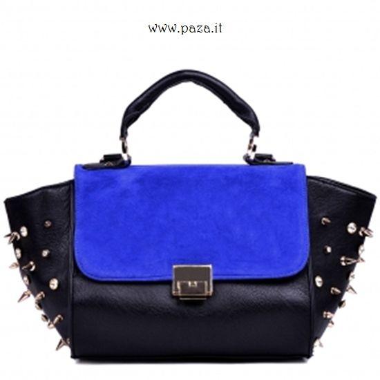 Borsa a mano in ecopelle nera con dettagli blu e borchie. Per info e Acquisti http://www.paza.it/produkt/7462,ziza-black-handbag