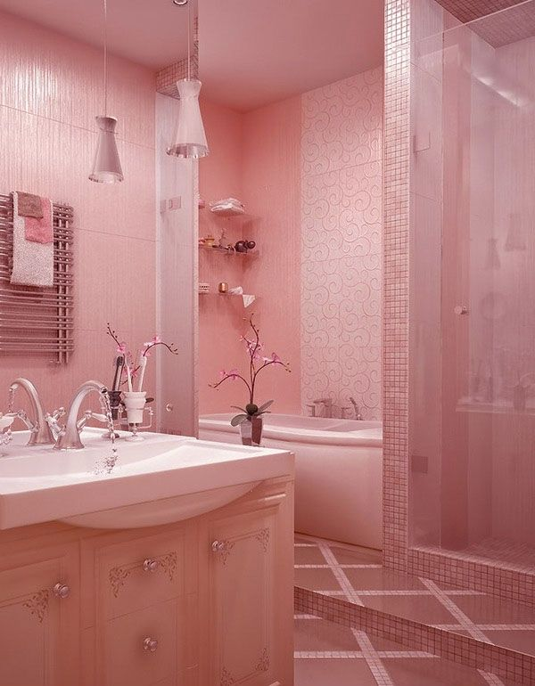 Full Pink Bathroom Design For Girls In Valentine Day
