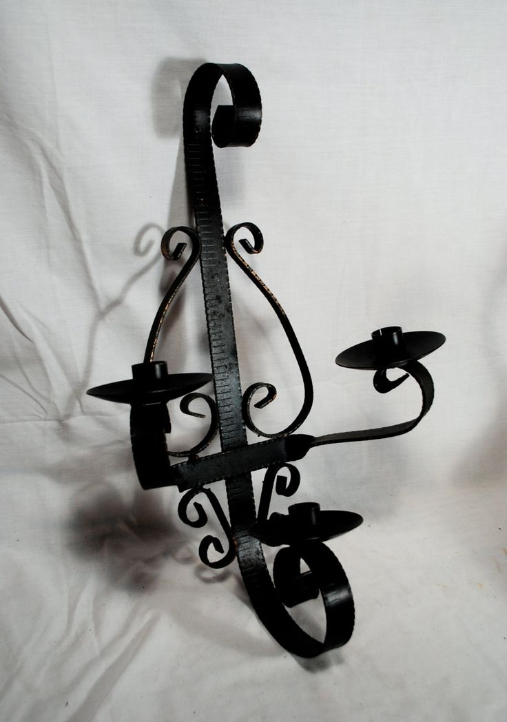 Wrought Iron Mediterranean Wall Sconce Candle Holder